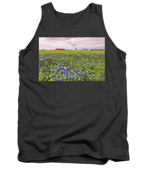 Bluebonnets And Red Barn In Washington County - Chappell Hill - Brenham - Texas Tank Top