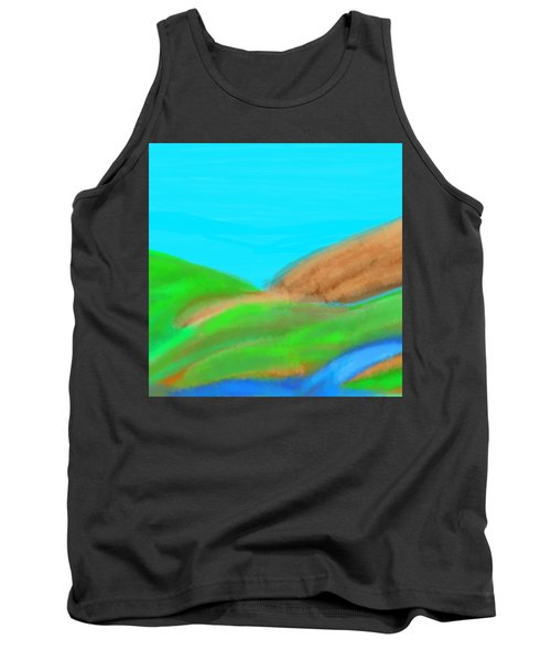 Blues And Browns On Greens Tank Top
