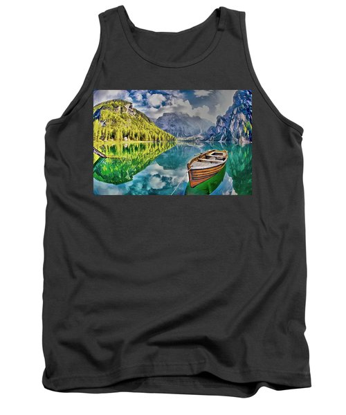 Tank Top featuring the painting Boat On The Lake by Maciek Froncisz