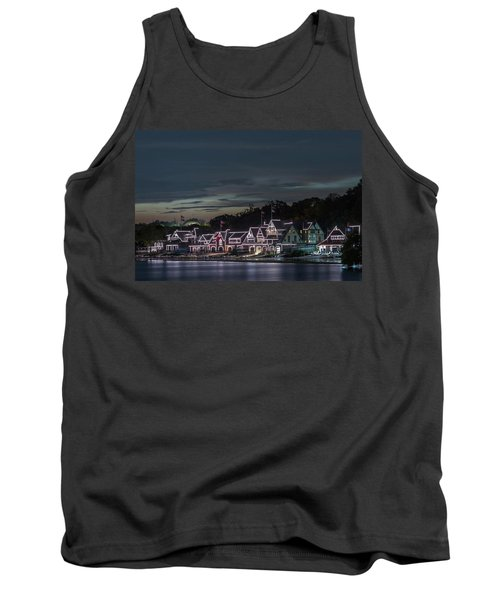 Boathouse Row Philly Pa Night Tank Top by Terry DeLuco