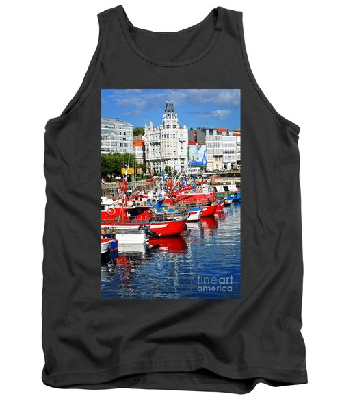 Boats In The Harbor - La Coruna Tank Top by Mary Machare