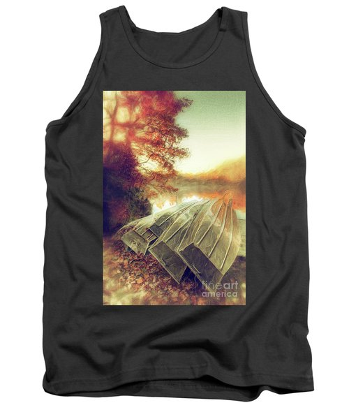 Boats On Price Lake During Autumn Sunrise Ap Tank Top by Dan Carmichael