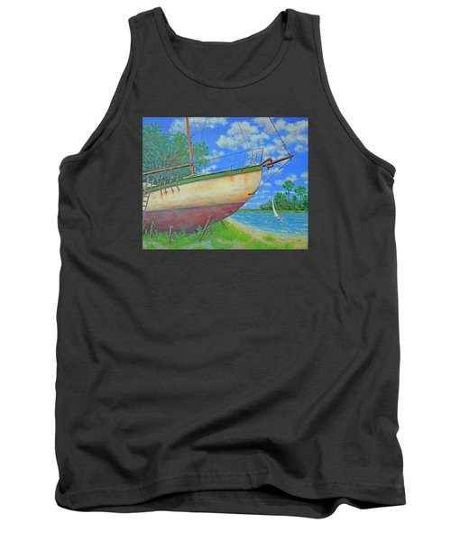 Tank Top featuring the painting Boatyard On Shem Creek by Dwain Ray