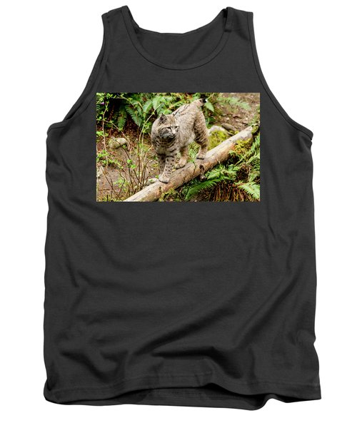 Bobcat In Forest Tank Top by Teri Virbickis
