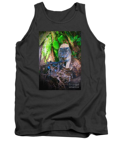 Bobcat On The Hunt Tank Top by Ansel Price