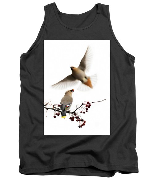 Tank Top featuring the photograph Bohemian Waxwings by Mircea Costina Photography