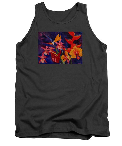 Tank Top featuring the painting Bold Tropical Flowers by Kerri Ligatich