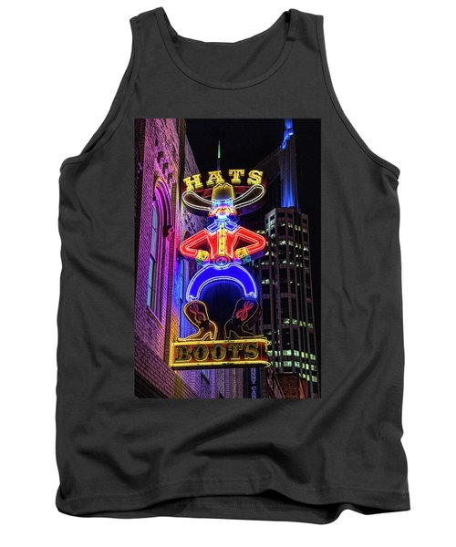 Boots And Hat Neon Sign Tank Top