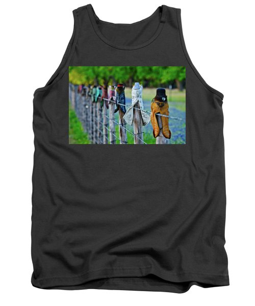 Tank Top featuring the photograph Boots On The Fence by Linda Unger