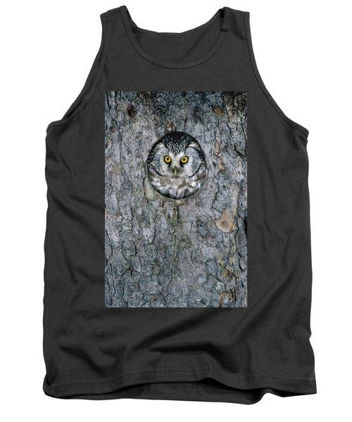 Boreal Owl Aegolius Funereus Peaking Tank Top