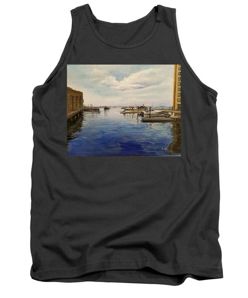 Tank Top featuring the painting Boston Harbor by Rose Wang