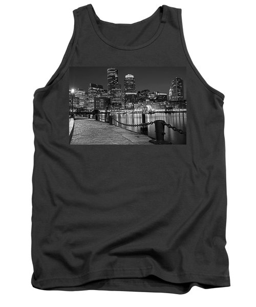 Boston Waterfront Boston Skyline Black And White Tank Top