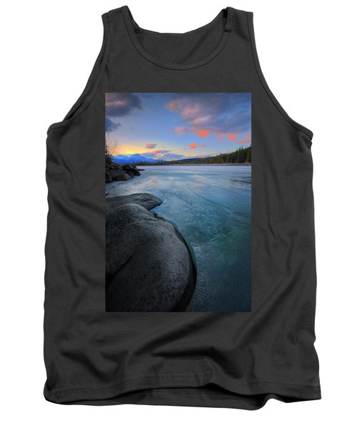 Tank Top featuring the photograph Boulders And Ice On The Athabasca River by Dan Jurak