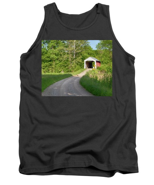 Tank Top featuring the photograph Bowser Ford Covered Bridge Lane by Harold Rau