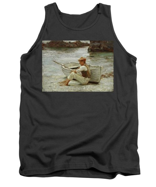 Tank Top featuring the painting Boy And Boat  by Henry Scott Tuke
