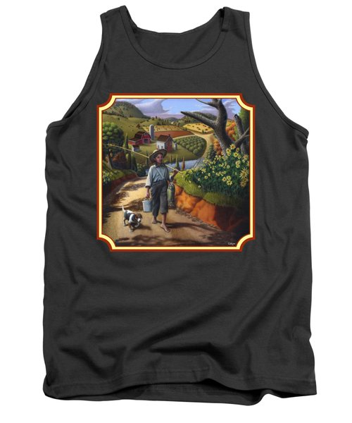 Boy And Dog Country Farm Life Landscape - Square Format Tank Top by Walt Curlee