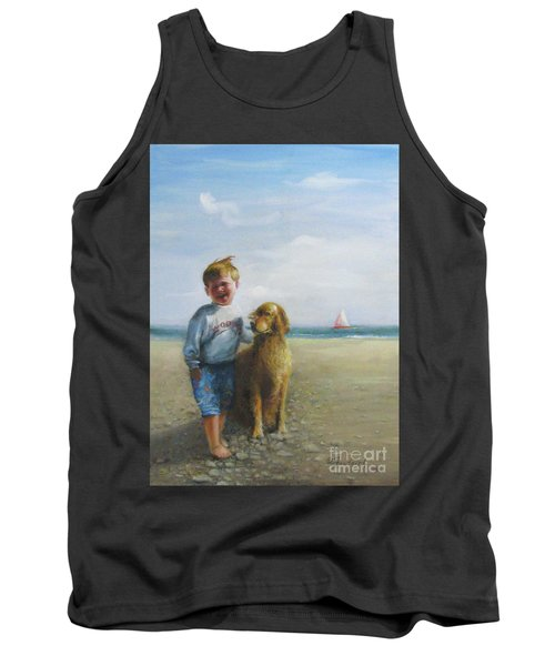 Boy And His Dog At The Beach Tank Top