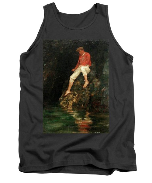 Tank Top featuring the painting Boy Fishing On Rocks  by Henry Scott Tuke