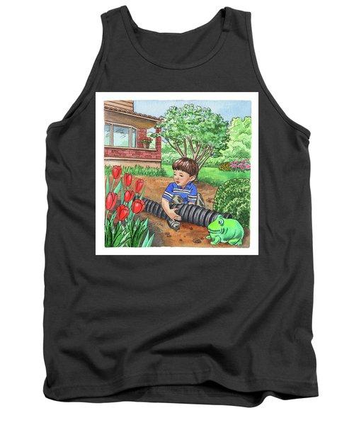 Boy In The Garden Helping Parents Tank Top