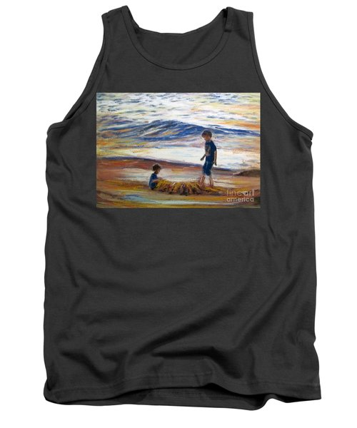 Tank Top featuring the painting Boys Playing At The Beach by Ryn Shell