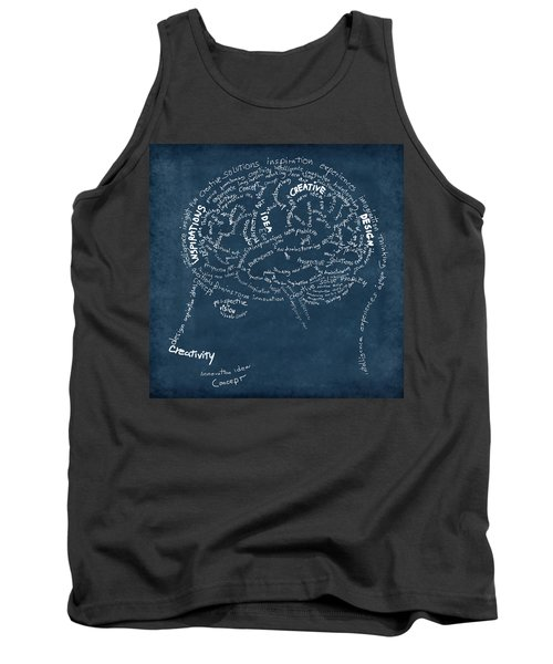 Brain Drawing On Chalkboard Tank Top by Setsiri Silapasuwanchai