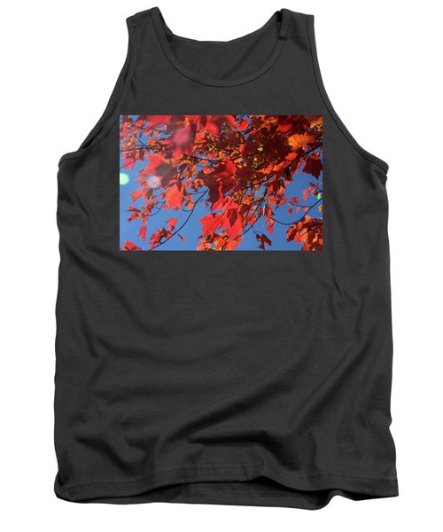 Branches Of Red Maple Leaves On Clear Sky Background Tank Top