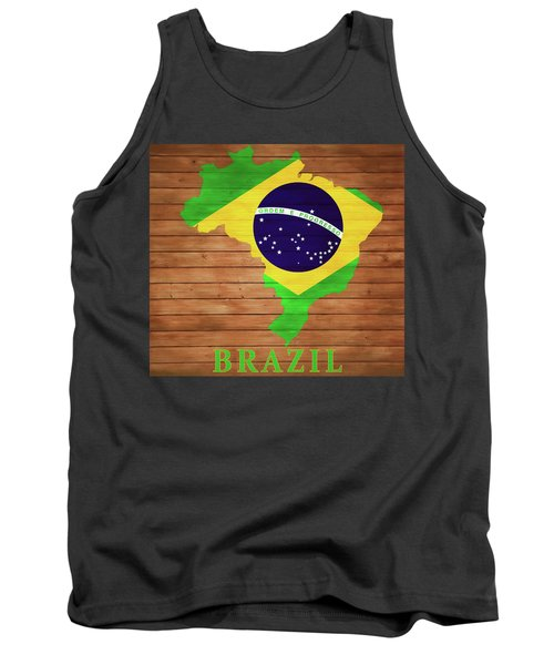 Brazil Rustic Map On Wood Tank Top