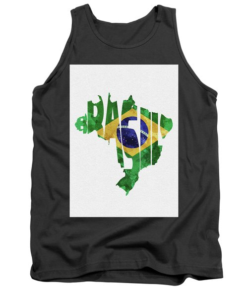 Brazil Typographic Map Flag Tank Top