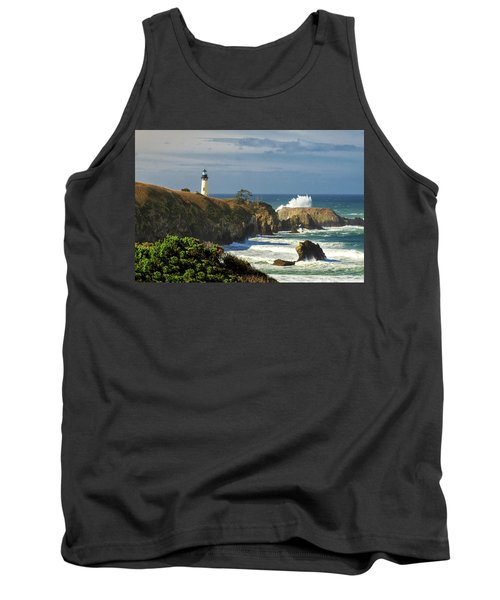 Breaking Waves At Yaquina Head Lighthouse Tank Top