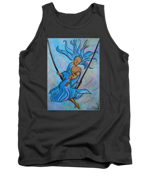 Tank Top featuring the painting Breastfeeding Everywhere Breastfeeding On A Swing by Gioia Albano