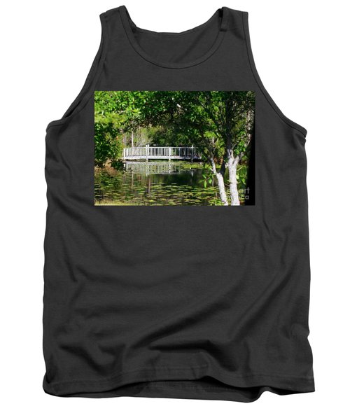 Tank Top featuring the photograph Bridge On Lilly Pond by Lori Mellen-Pagliaro
