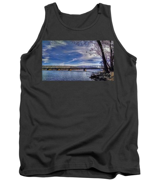 Bridge Over The Delaware River In Winter Tank Top