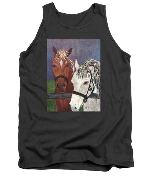 Brown And White Horses Tank Top