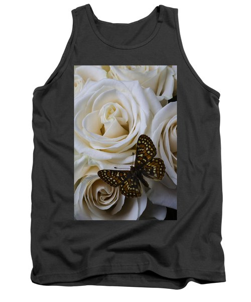 Brown Spotted Butterfly Tank Top