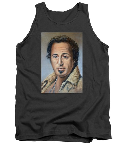 Tank Top featuring the photograph Bruce Springsteen Portrait by Melinda Saminski