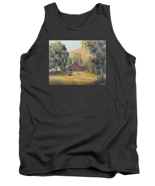 Tank Top featuring the painting Bucks County Pa Barn by Luczay