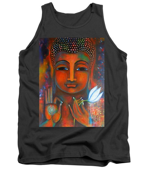 Buddha With A White Lotus In Earthy Tones Tank Top