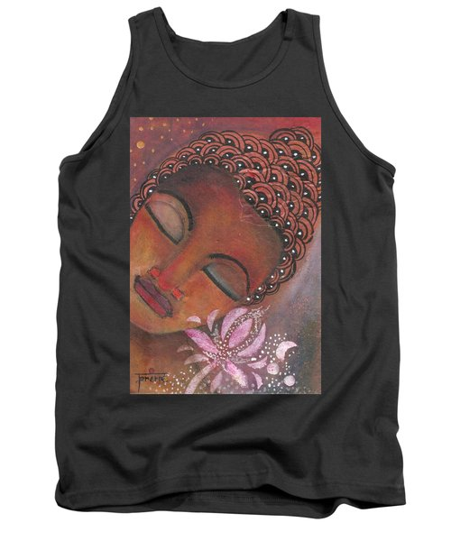Tank Top featuring the painting Buddha With Pink Lotus by Prerna Poojara