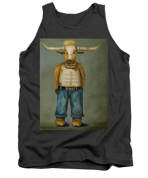 Tank Top featuring the painting Bull Denim by Leah Saulnier The Painting Maniac