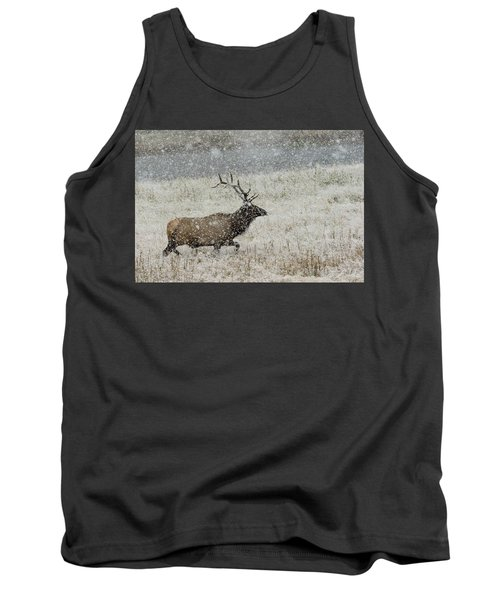 Bull Elk With Snow Tank Top