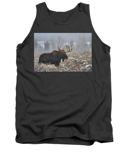 Tank Top featuring the photograph Bull Moose In The Fog by Adam Jewell
