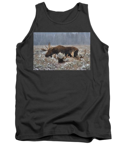 Tank Top featuring the photograph Bull Moose In The Snowy Meadow by Adam Jewell