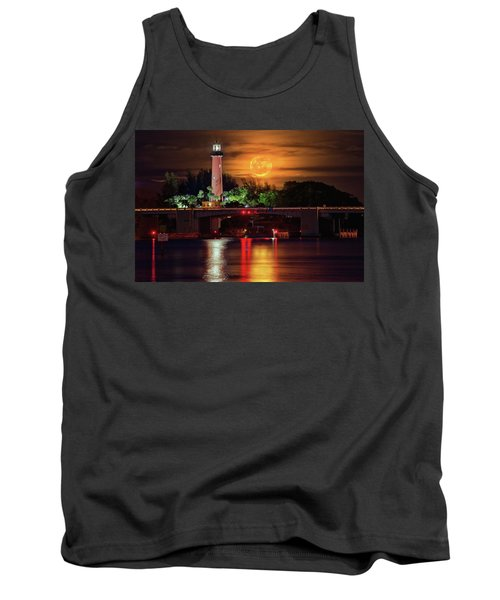 Tank Top featuring the photograph Burning Moon Rising Over Jupiter Lighthouse by Justin Kelefas