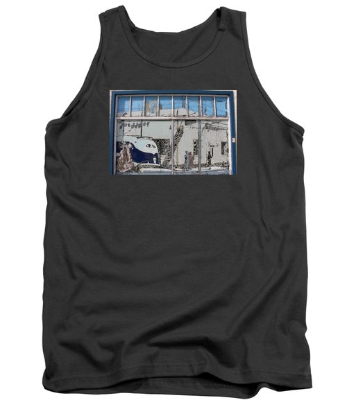 Vintage Bus Depot Sign Tank Top by Suzanne Lorenz