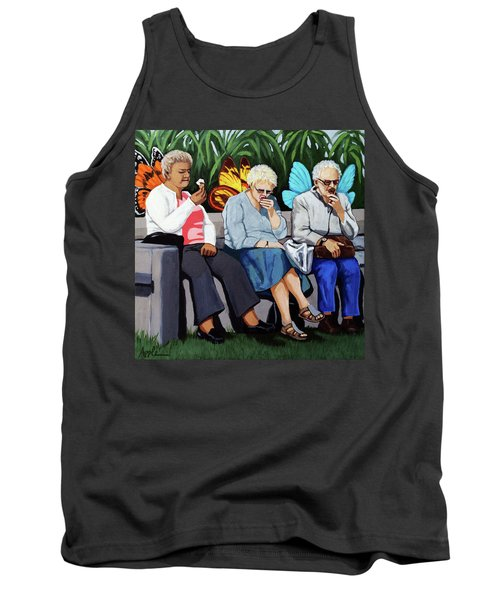 Tank Top featuring the painting Butterflies Like Ice Cream Too by Linda Apple