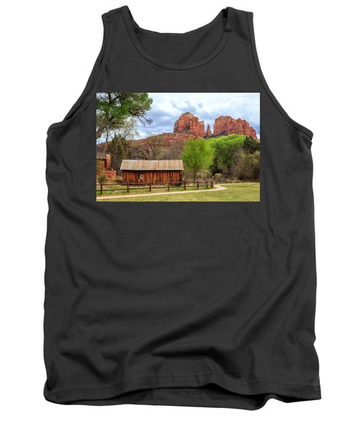Tank Top featuring the photograph Cabin At Cathedral Rock by James Eddy