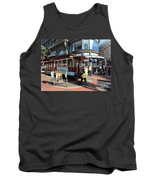 Tank Top featuring the photograph Cable Car Union Square Stop by Steven Spak