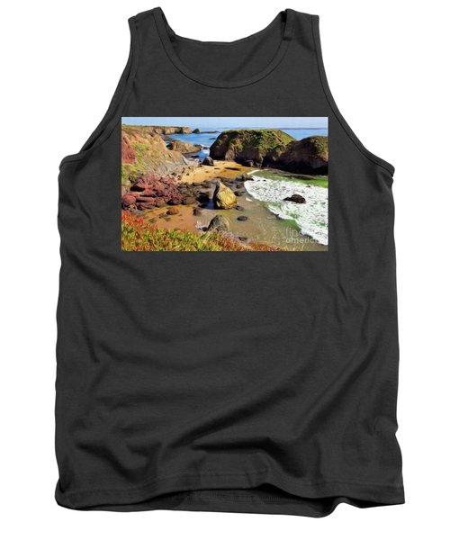 California Coast Rocks Cliffs Iceplant Ap Tank Top by Dan Carmichael