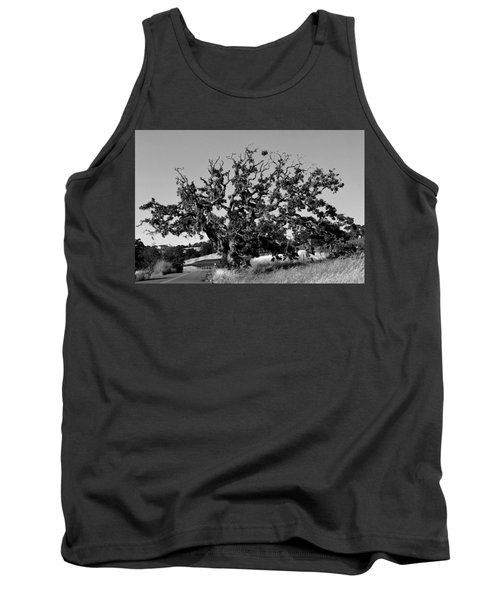 California Roadside Tree - Black And White Tank Top