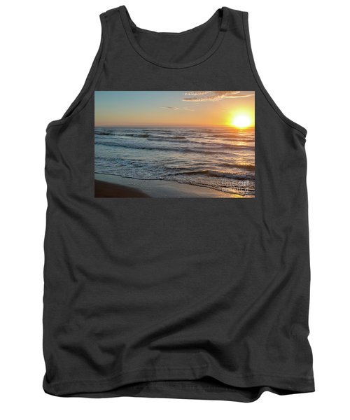 Calm Water Over Wet Sand During Sunrise Tank Top